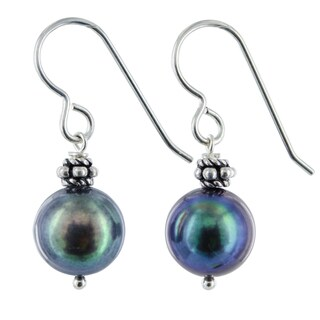 Ashanti Freshwater Black Pearl Sterling Silver Handmade Earrings