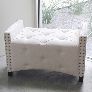 International Caravan Rustic Elegance Natural Rectangular Button-Tufted Upholstered Bench with Arms
