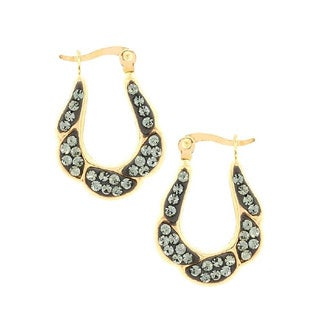 14K Yellow Gold Crystal Twisted Oval Hoop Earring
