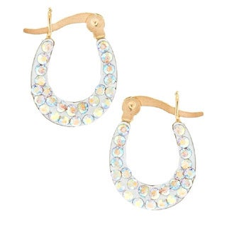 14K Yellow Gold Oval Hoop Earring with Crystals