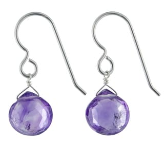 Ashanti Amethyst Gemstone Sterling Silver Handmade Dainty Drop Earrings