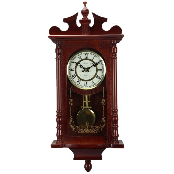 Bedford Clock Collection Redwood 25 in. Chiming Wall Clock