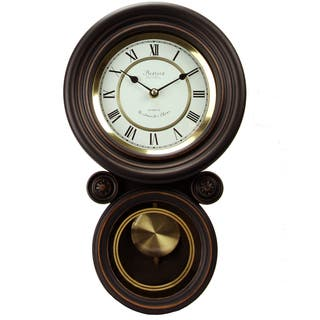 Bedford Clock Collection Contemporary Round Wall Clock with Pendulum|https://ak1.ostkcdn.com/images/products/10836286/P17878515.jpg?impolicy=medium