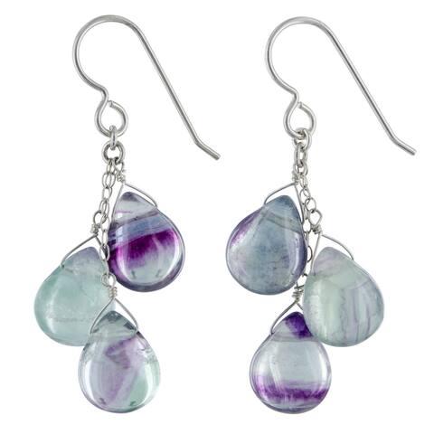 Fluorite Gemstone, Chandelier Silver Handmade Earrings