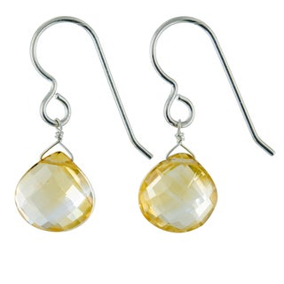 Ashanti Citrine Gemstone Sterling Silver Handmade Drop Earrings