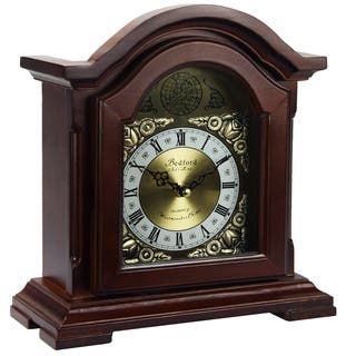 Bedford Clock Collection Redwood Oak Finish Mantel Clock with Chimes|https://ak1.ostkcdn.com/images/products/10836296/P17878518.jpg?impolicy=medium