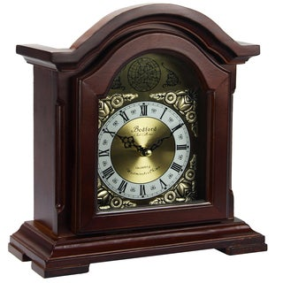 Bedford Clock Collection Redwood Oak Finish Mantel Clock with Chimes