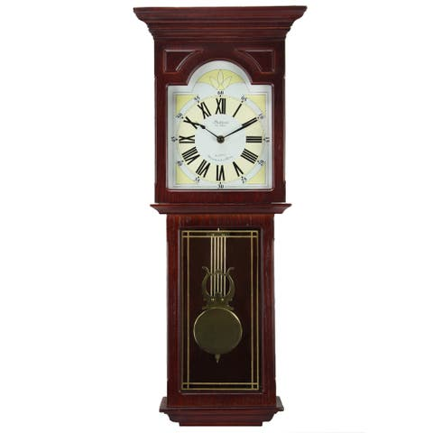 Bedford Clock Collection Redwood 23 in. Chiming Wall Clock