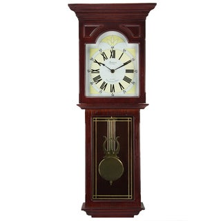 Bedford Clock Collection Redwood 23-inch Wall Clock with Pendulum and Chime
