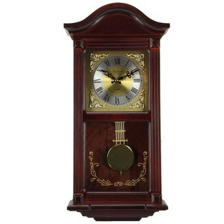 Bedford Clock Collection Mahogany 22 in. Chiming Wall Clock