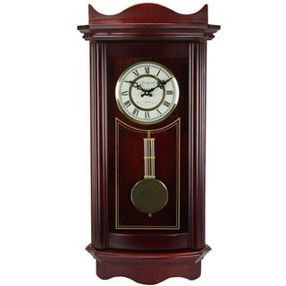 Bedford Clock Collection Weathered Cherry Wood 25-inch Wall Clock with Pendulum