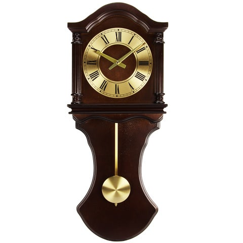Bedford Clock Collection Chocolate Wood Wall Clock with Pendulum and Chimes