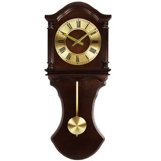 Bedford Clock Collection Chocolate Wood Wall Clock with Pendulum and Chimes|https://ak1.ostkcdn.com/images/products/10836322/P17878537.jpg?impolicy=medium