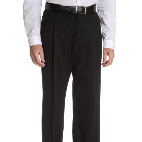 Palm Beach Men's Black Wool Performance Pleated Suit Separates Suit Pant