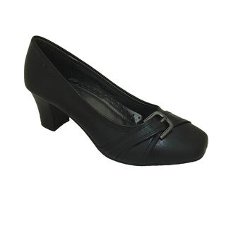 Women's Black Mid Heel Pump with Strap