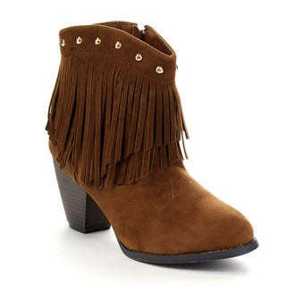 Beston CB41 Women's Studded 2-Layer Fringe Ankle Booties