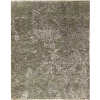 Modern Distressed Dinara Green Hand-knotted Rug (6'1 x 9')