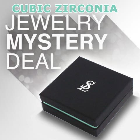 Suzy L. 3 Piece Sterling Silver Cubic Zirconia Mystery Ring, Earring and Necklace - White