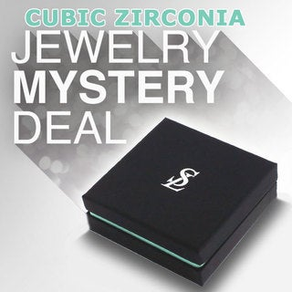 Suzy Levian 3 Piece Sterling Silver Cubic Zirconia Mystery Ring, Earring and Necklace - White