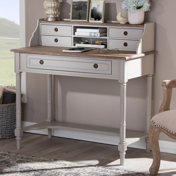 Baxton Studio Edouard French Provincial Style White Wash Distressed Two-Tone Writing Desk