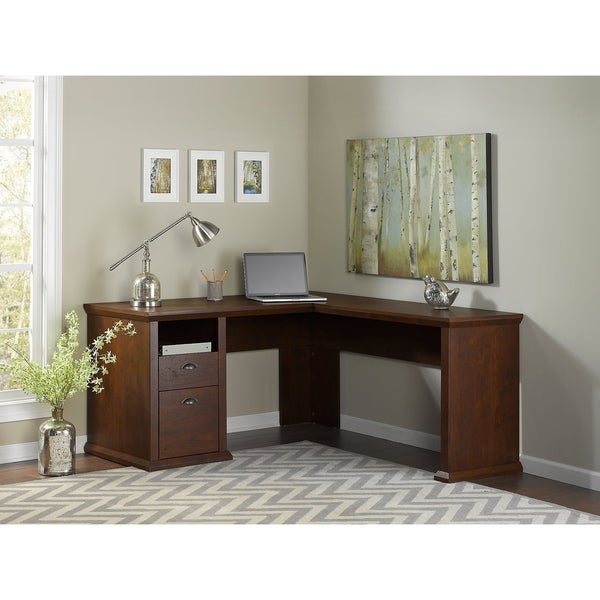 Bush Furniture Yorktown L Shaped Desk In Antique Cherry