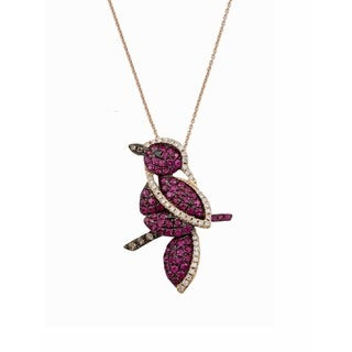 Kabella 18K Rose Gold Ruby 1/4ct TDW Diamond Bird Pendant ( G-H, SI1)
