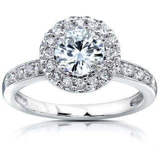 Annello by Kobelli 14k White Gold 1 1/4ct TGW Forever One DEF Moissanite and Diamond Old-Fashion Halo Engagement Ring