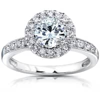 Annello by Kobelli 14k White Gold 1 1/4ct TGW Forever One Moissanite and Diamond Halo Engagement Ring (DEF/VS, GH/I)
