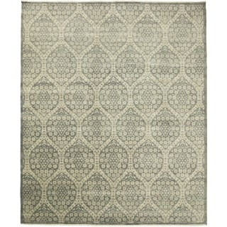 Transitional Feroz Green Hand-knotted Rug (12'1 x 14'7)