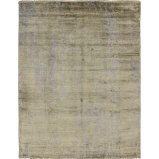 Modern Art Silk Feroze Beige Hand-knotted Rug (8'10 x 12')