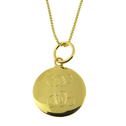 Handmade Sterling Silver Personalized Round Vermeil Pendant Necklace (Mexico)