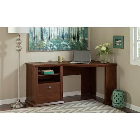 Copper Grove Senaki Corner Desk in Antique Cherry