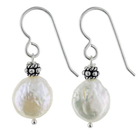 Coin Pearl Sterling Silver Handmade Earrings. Ashanti Jewels