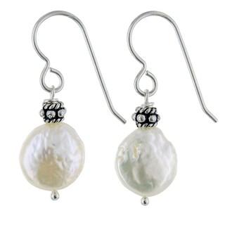 Ashanti Coin Pearl Sterling Silver Handmade Earrings