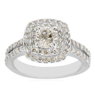 14k White Gold 2 1/2ct Halo Engagement Ring with 1 1/2ct Cushion-cut Clarity Enhanced Center Diamond - White H-I