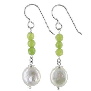 Ashanti Coin Pearl and Apple Green Jade Gemstone Sterling Silver Handmade Earrings