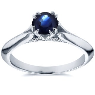 Annello by Kobelli 14k White Gold Blue Sapphire and Diamond Accent Antique Floral Sleek Edged Engage