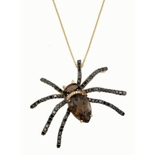 Kabella 18k Yellow Gold Precious Gemstone and Diamonds Spider Critter Pendant