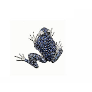 Kabella 18K White Gold Sapphire and Diamond Frog Brooch Pendant