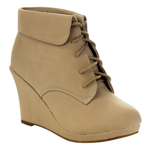 Beston CA74 Women's Wedge Heel Lace Up Ankle Booties
