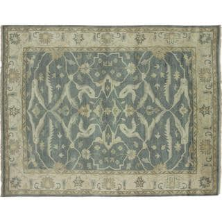 Fine Oushak Sinbad Green Hand-knotted Rug (9'4 x 11'9)