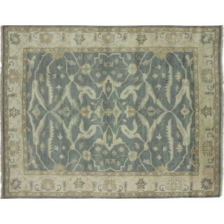 Fine Oushak Sinbad Green Hand-knotted Rug (9'4 x 11'9) - 9'4 x 11'9