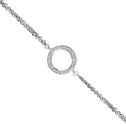 Avanti Sterling Silver Circle Cubic Zirconia Adjustable Bracelet
