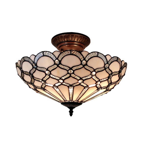 4a1eb7ac52f4 Shop Amora Lighting Tiffany Style Jewel Semi Flush Mount - Free Shipping  Today - Overstock - 10836499