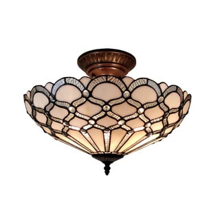 Amora Lighting Tiffany Style Jewel Semi Flush Mount