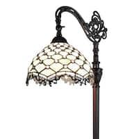 Amora Lighting AM122FL12 Tiffany Style Jeweled Reading Floor Lamp