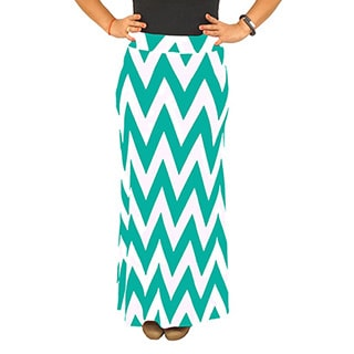 Women's Fold over Waist Full Length Mint/ White Chevron Maxi Skirt