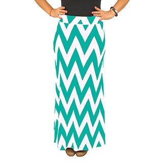 Women's Fold over Waist Full Length Mint/ White Chevron Maxi Skirt (5 options available)
