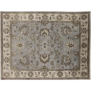 Fine Oushak Gulzar Grey Hand-knotted Rug (7'8 x 9'10)