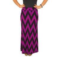 Women's Fold over Waist Full Length Black/ Fuchsia Chevron Maxi Skirt